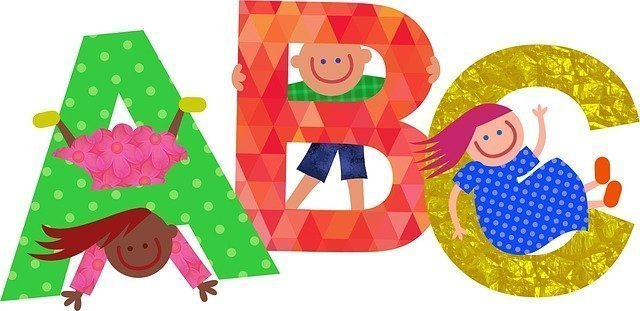 Animated Picture of the letters ABC with three kids