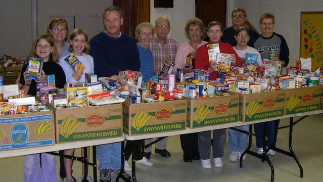 Boxes of food donations