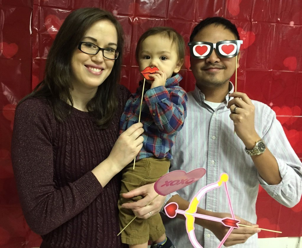 A Wesley Grove family poses for silly pictures at the annual Sweetheart Breakfast.