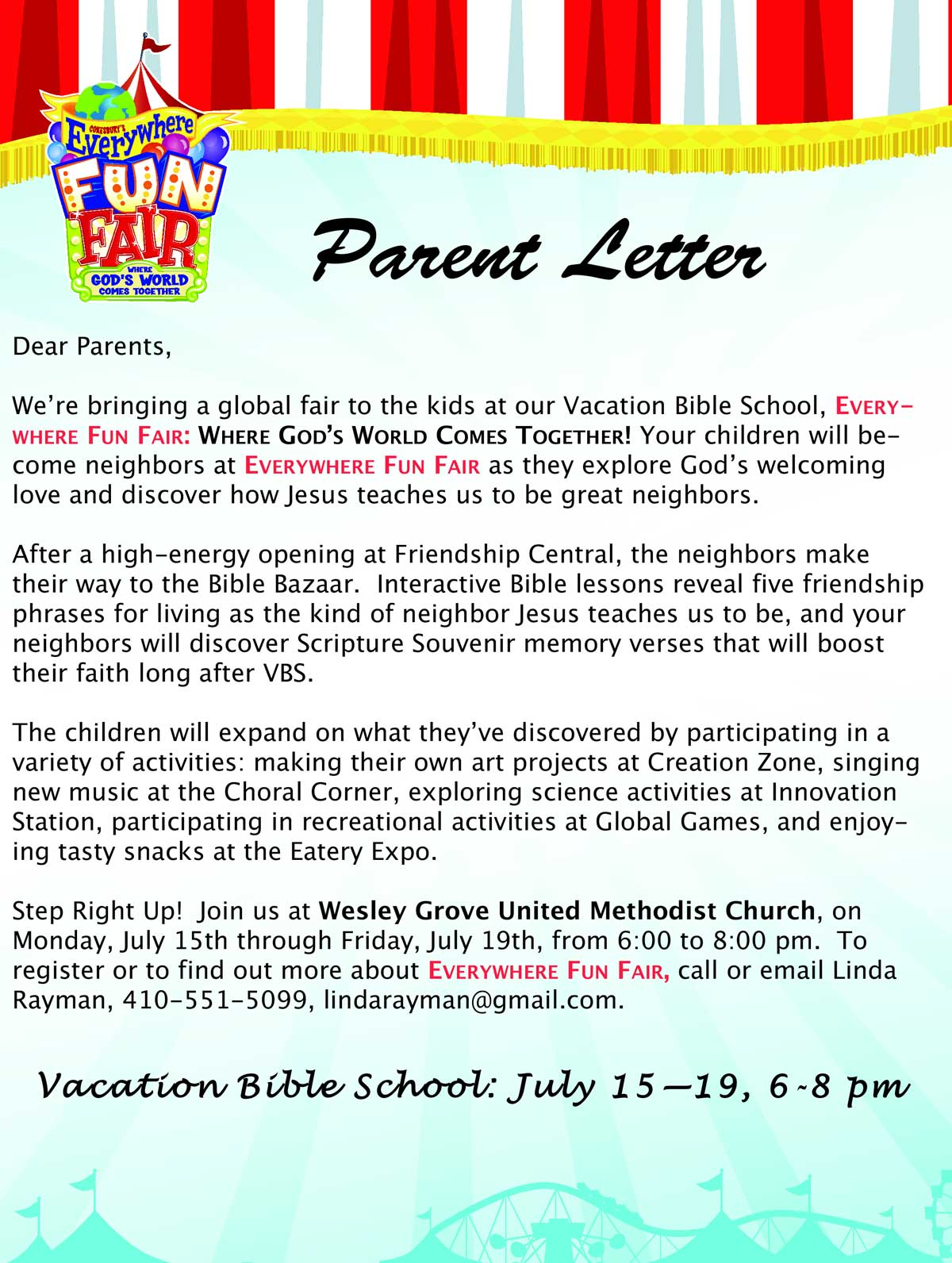 Vacation Bible School Letter
